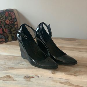 7 for All Mankind Black Patent Wedge Heel